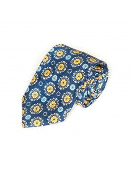 Navy/Gold Floral Medallions Tie