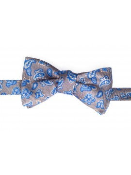 Grey/Blue Pines/Stripes Reversible Bow Tie