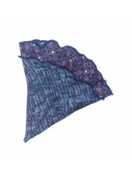Plum/Denim Floral/Dots Wool Pocket Circle