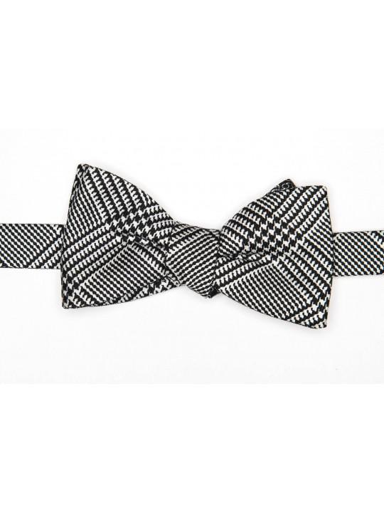 Black/White Glen/Links Reversible Bow Tie