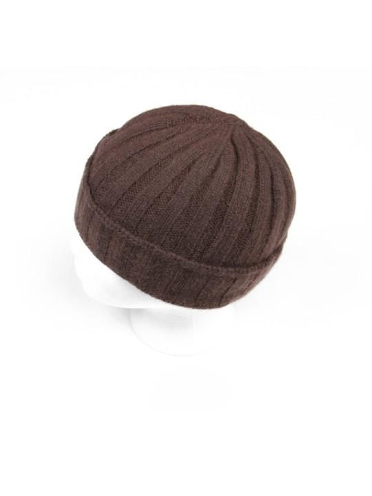 Cashmere Knit Hat in Dark Brown