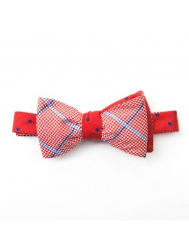 Red/Navy Dots/Glen Plaid Reversible Bow Tie
