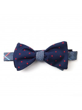 Navy/Red Dots/Glen Plaid Reversible Bow Tie