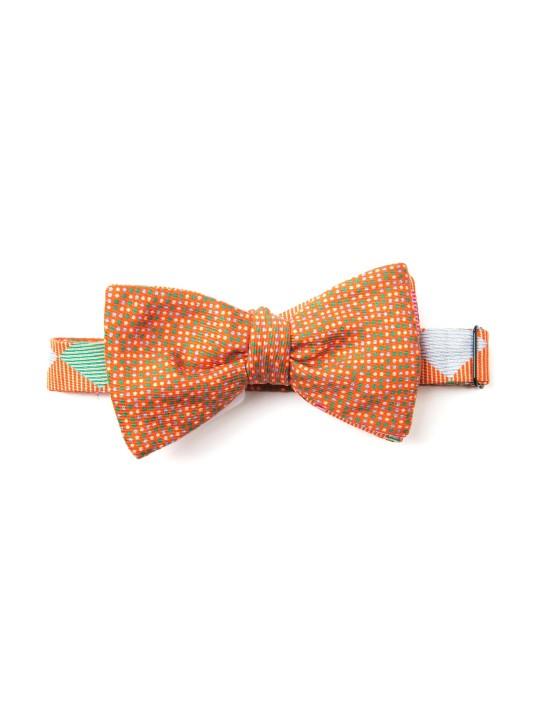 Arancio/Seafoam/Lt Blue Checker/Dots Reversible Bow Tie