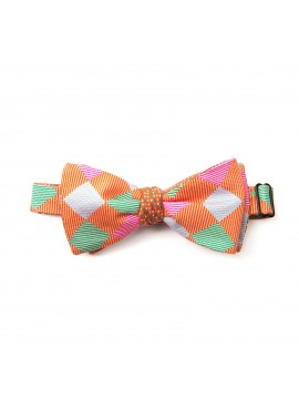 Arancio/Seafoam/Lt Blue Checker/Dots Reversible Bow Tie