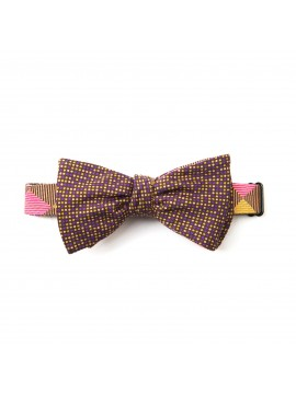 Mustard/Olive/Violet Checker/Dots Reversible Bow Tie