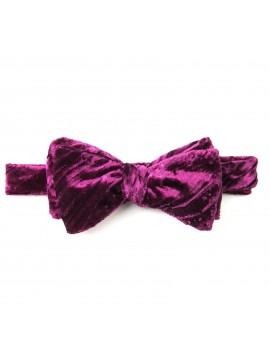 Burgundy Crushed Velvet Formal Bow Tie
