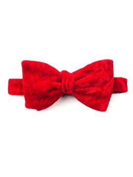 Red Crushed Velvet Formal Bow Tie