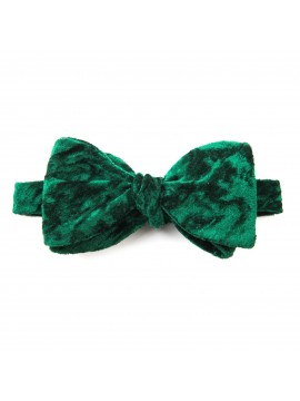 Emerald Crushed Velvet Reversible Bow Tie
