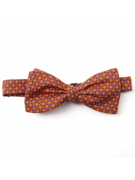 Orange/Orchid Pins/Links Reversible Bow Tie