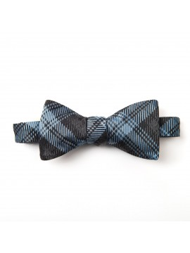 Blue/Grey Paisley/Window Reversible Bow Tie