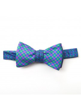 Blue/Pink/Apple Link/Check Reversible Bow Tie