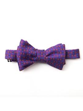 Purple/Blue/Orange Links/Check Reversible Bow Tie