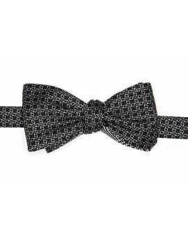 Black/White Glen/Links Reversible Bow Tie