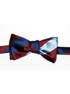 Maroon/French Blue/Light Blue Stripes/Dots Reversible Bow Tie