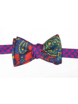 Red-Orange/Periwinkle/Fuschia Exploded Paisley/Large Hounds Tooth Reversible Bow Tie