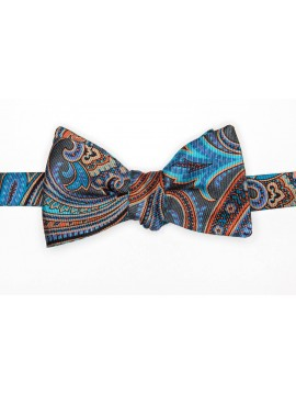 Coral/Teal/Grey Exploded Paisley/Hounds Tooth Reversible Bow Tie