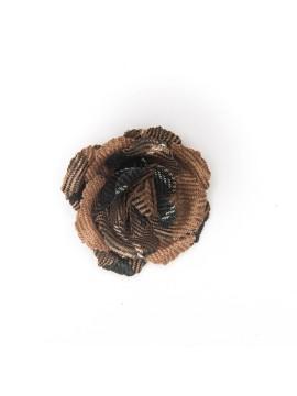 Chestnut/Black Plaid Wool Rose Boutonniere/Lapel Flower