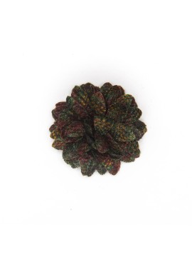 Black Twill/Dark Green/Wine Wool Check Daisy Boutonniere/Lapel Flower