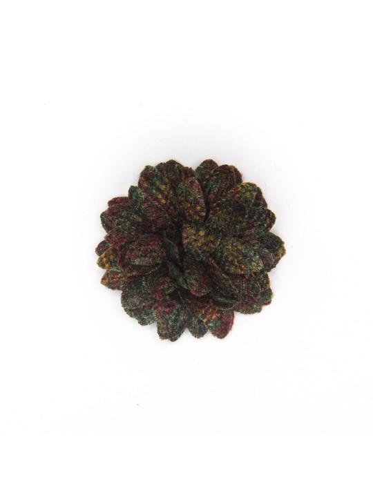 Black Twill/Dark Green/Wine Wool Check Daisy Boutonniere/Lapel Flower
