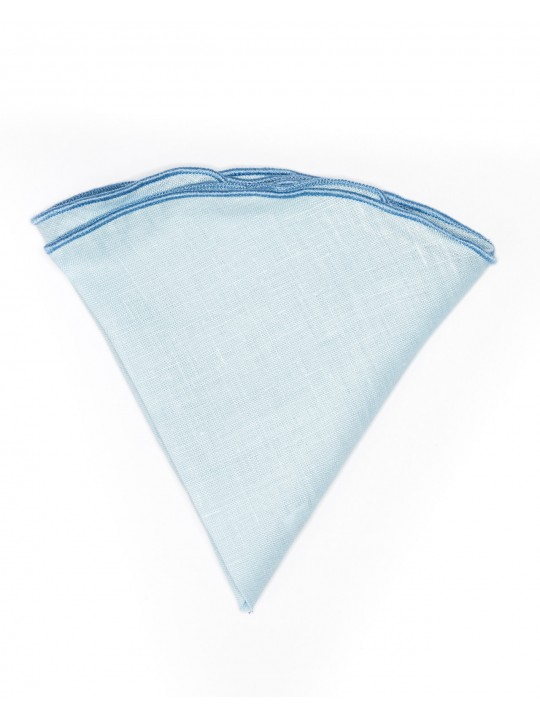 Solid Light Blue Linen/Blue Trim Linen Pocket Circle