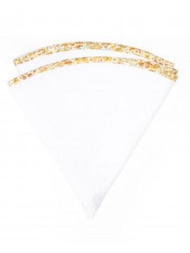 White Linen/Gold/Yellow Floral Trim Linen Pocket Circle