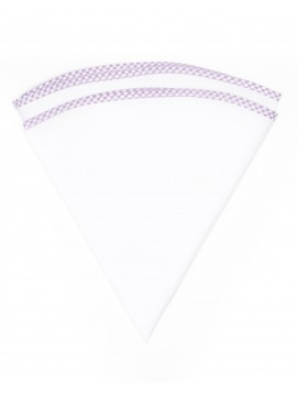 White Linen/Purple/White Gingham Trim Linen Pocket Circle