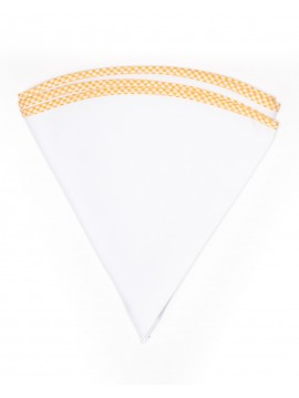 White Linen/Gold/White Gingham Trim Linen Pocket Circle