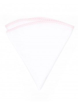 White Linen/Pink/White Gingham Trim Linen Pocket Circle