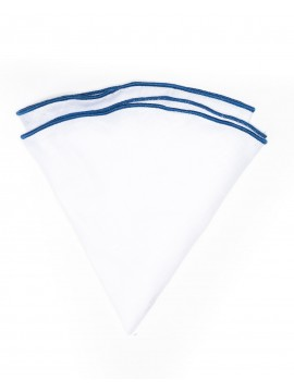 White Linen/French Blue Trim Linen Pocket Circle