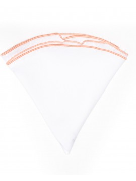 White Linen/Salmon Trim Linen Pocket Circle