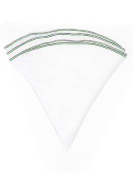 White Linen/Sea Green Trim Linen Pocket Circle