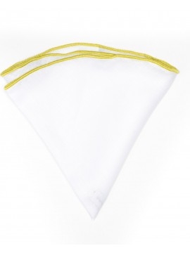 White Linen/Pear Trim Linen Pocket Circle