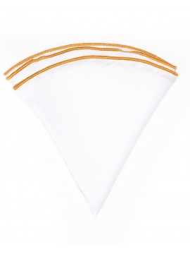 White Linen/Gold Trim Linen Pocket Circle