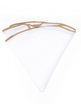 White Linen/Golden Rod Trim Linen Pocket Circle