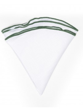 White Linen/Hunter Green Trim Linen Pocket Circle