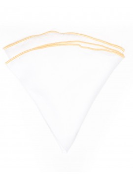 White Linen/Pale Yellow Trim Linen Pocket Circle