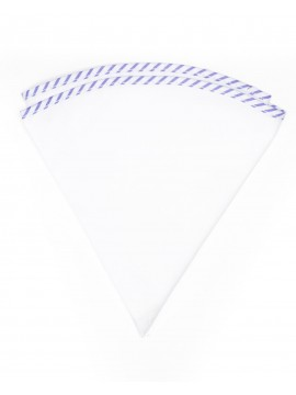 White Linen/Purple/White Stripe Trim Linen Pocket Circle