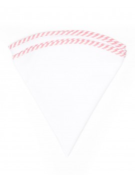 White Linen/Pink/White Stripe Trim Linen Pocket Circle