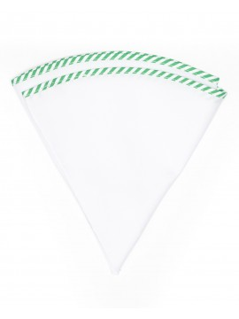 White Linen/Green/White Stripe Trim Linen Pocket Circle