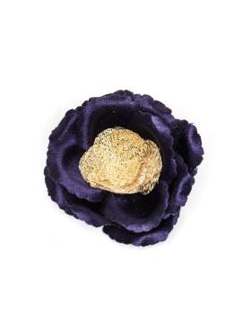 Indigo/Metallic Gold Rose Boutonniere/Lapel Flower