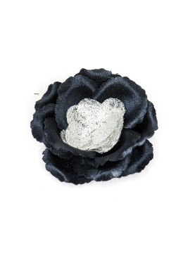 Navy/Metallic Silver Rose Boutonniere/Lapel Flower