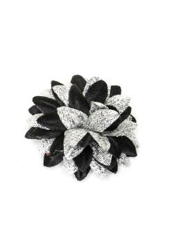 Black/Metallic Silver Daisy Boutonniere/Lapel Flower