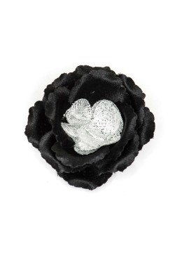 Black/Metallic Silver Rose Boutonniere/Lapel Flower