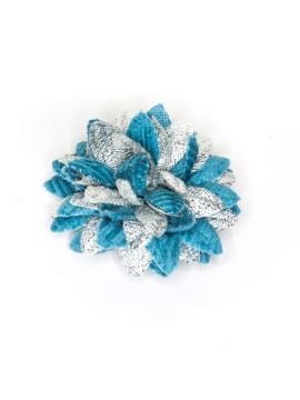 Cadet Blue Corduroy/Metallic Silver Daisy Boutonniere/Lapel Flower