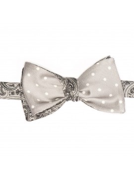 Grey/White Paisley/Dots Formal Reversible Bow Tie