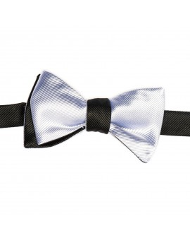 Black/Silver Formal Reversible Bow Tie