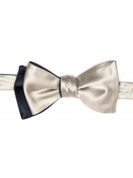 Navy/Silver Formal Reversible Bow Tie