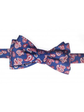 Navy/Blue/Red Pines/Stripes Reversible Bow Tie