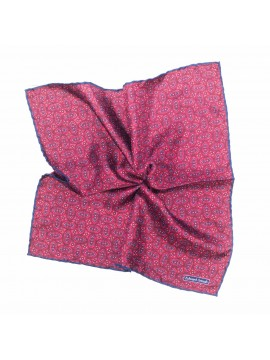 Bordeaux/Navy Oval Neat Pocket Square
